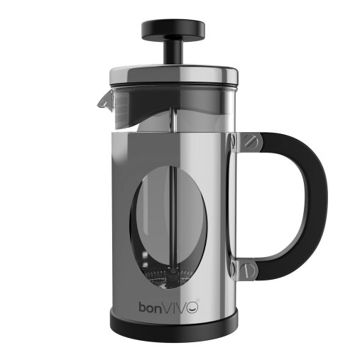bonVIVO GAZETARO I French Press Coffee Maker, Stainless Steel Cafetiere With Glass Jug, Coffee Plunger With Filter, Manual Coffee Maker With Silver...