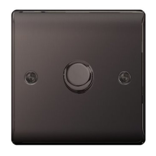 BG NBN81P-01 400 W Nexus Metal Single Dimmer Switch with 2 Way Push On/Off - Black Nickel