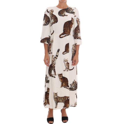2fbf41dbd9a Dolce   Gabbana White Brown CAT Print Viscose Long Dress on OnBuy
