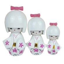 Lovely Japanese Kimono Girl Wooden Dolls With Cherry Blossoms 3 Pcs  White