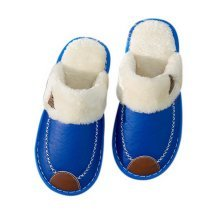 Cotton Slippers Men Winter House Thicker Waterproof Non-slip Slippers Royal Blue