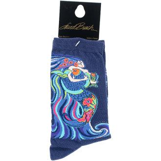 Laurel Burch Socks-Dancing Mermaids - Navy