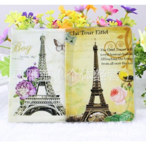 Vintage Style Paris Holiday Eiffel Tower Passport Cover