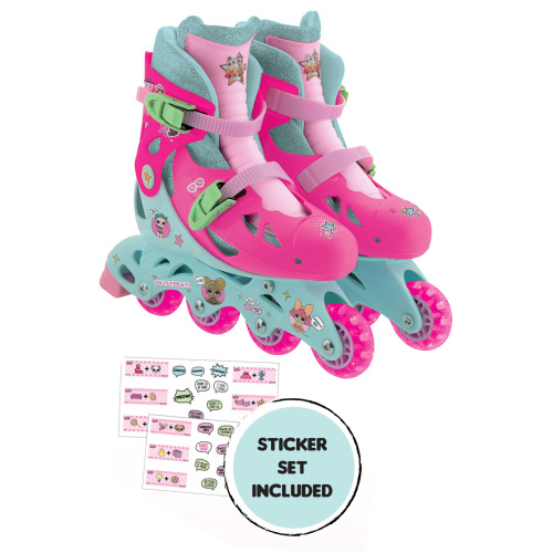 MV Sports LOL Surprise Inline Skates With Sticker Set and Easy Adjustment With Push Button To Adjust 4 Sizes 13J-3