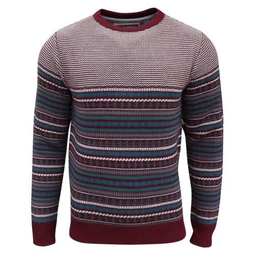 Soul Star Men's Stifler Nordic Striped Knitted Jumper Dark Red