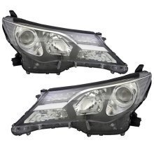 Toyota Rav-4 2013-2016 Black Headlights Headlamps Pair Left & Right
