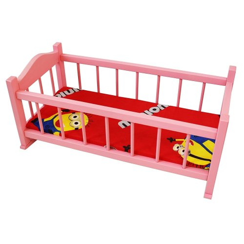Obique Children's Wooden Toy Pink Pine Rocking Bed with Mattress