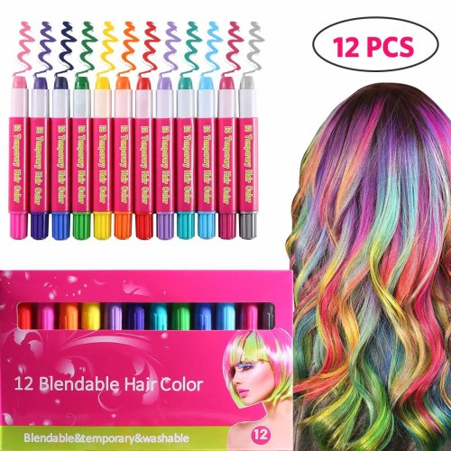 ROTEK Hair Chalk, 12 Color Temporary Hair Chalk Pens Set for Kids Girls  Boys Women and Men, Non-Toxic Washable Instant Hair Dye Great for Party...