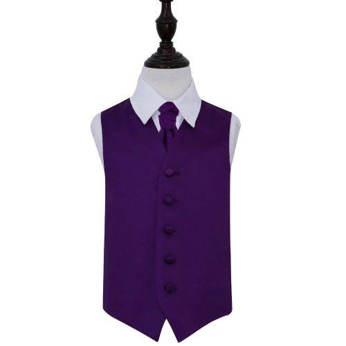 Purple Plain Satin Wedding Waistcoat & Cravat Set for Boys 34'