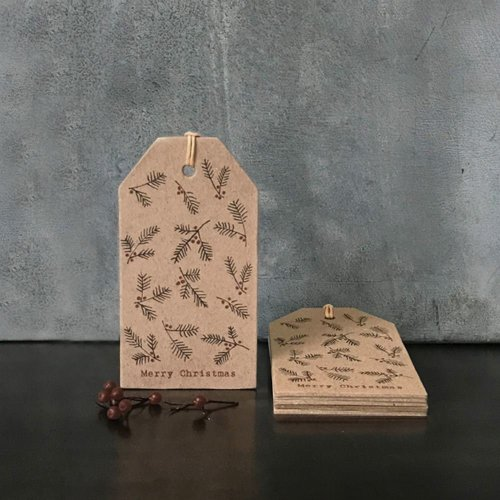 East of India Kraft Brown Fir and Berry Christmas Gift Tags x 6