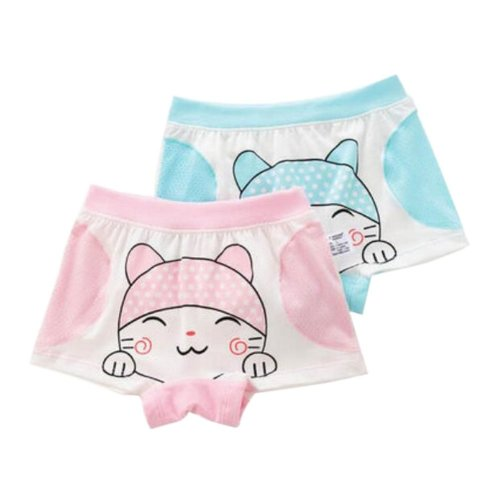 Little Girls Soft Cotton Panties Cute Cat Underwears, Set of 2