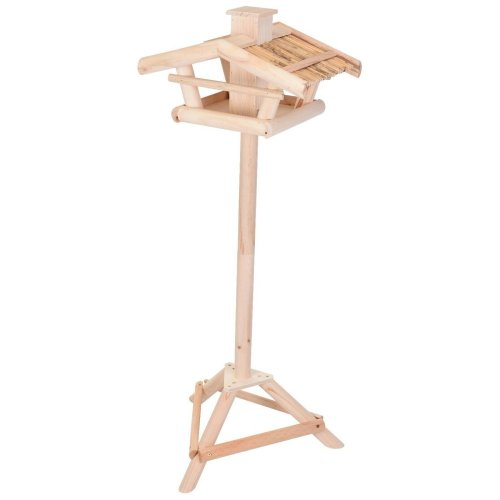 Koppman Free Standing Bird Table Bird House Bird Feeder with Reed Roof