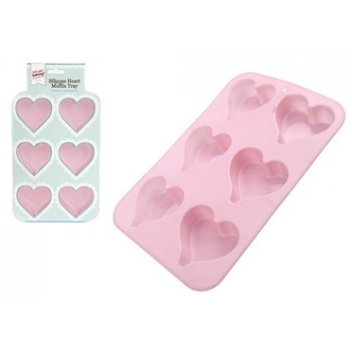 Heart Shaped Muffin Tray - Silicone Cake Cup Cupcake 6 Pink Cases Mould Moulds -  silicone muffin cake heart shaped cup cupcake 6 pink tray cases