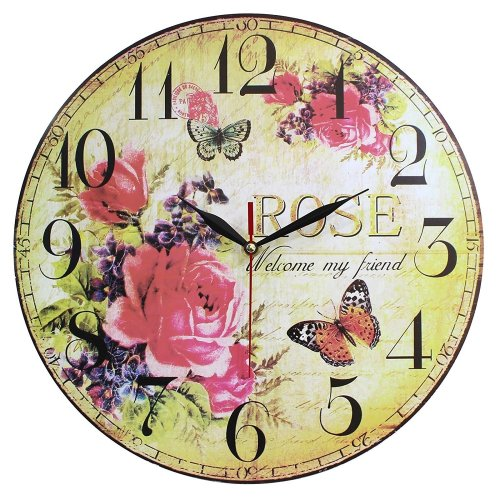 Home Decoration Vintage MDF Welcome My Friend Roses Wall Clock 34cm