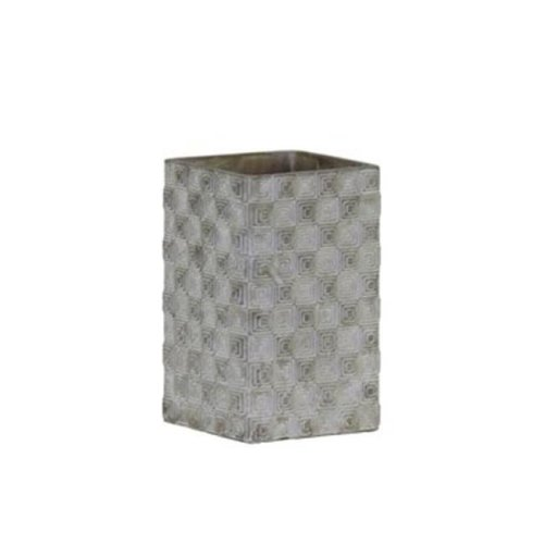 Cement Tall Square Pot with Embossed Rectangle Design Body, Gray - Small