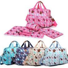 Miss Lulu 4pcs Baby Nappy Diaper Changing Bag Set Cat Print