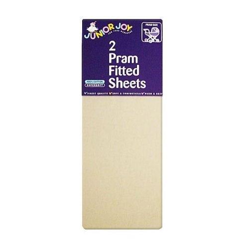 2 x Junior Joy Baby Pram Stroller Fitted Sheets 100% Soft Cotton Warm Pack Cream