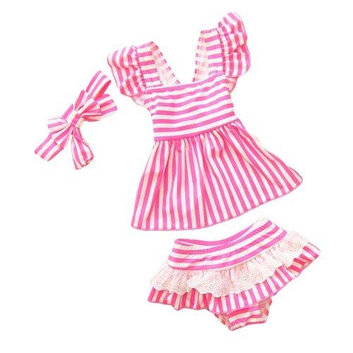 Swimwear Stripe Pattern Girls Two-Piece Swimsuit Headband, 18.5-27.5 kg