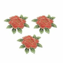 3 Counts Fuchsia Peony Patchs Flower Appliques