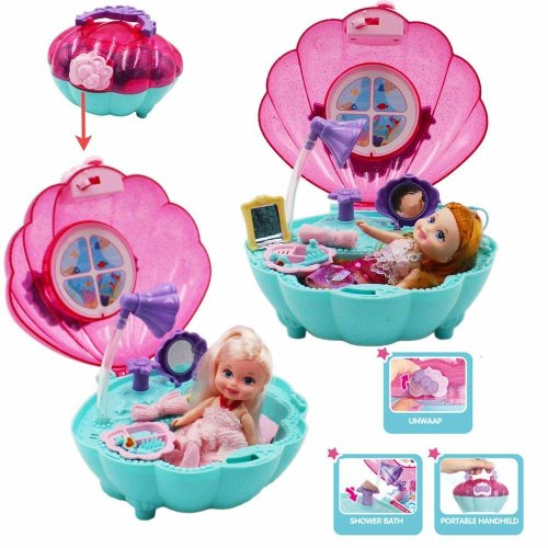 deAO Toy Mermaid Carry Case and 2-in-1 Bath Play Set with Bath Feature Accessories and Dolls included