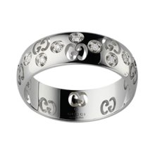 GUCCI RING ICON BOLD WHITE GOLD AND diamonds size 15 246484 J8540 9066