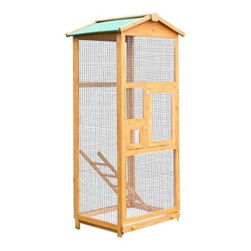 Pawhut Wooden Bird Cage Birds Parrot Playing Zone Budgie Canary Parakeet Aviary