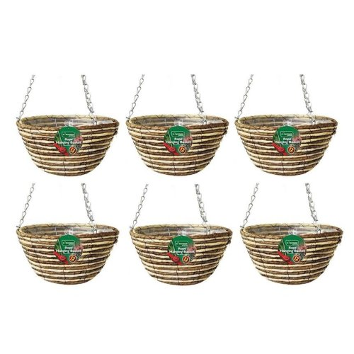 6 X Kingfisher Hb12Rr 12-Inch/30  cm Rope Hanging Basket - Beige