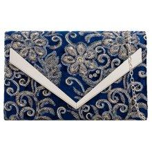 Clutch Bag Blue Velvet Floral Sequins Evening Shoulder Bag Navy Handbag