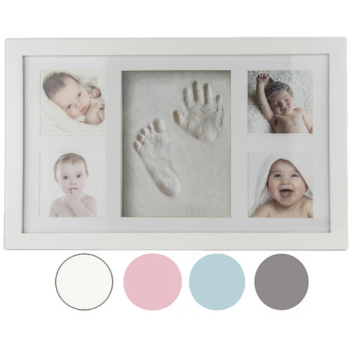 Baby Hand & Foot Print Clay Cast Kit & 4 Photo Picture Frame Christening Gift