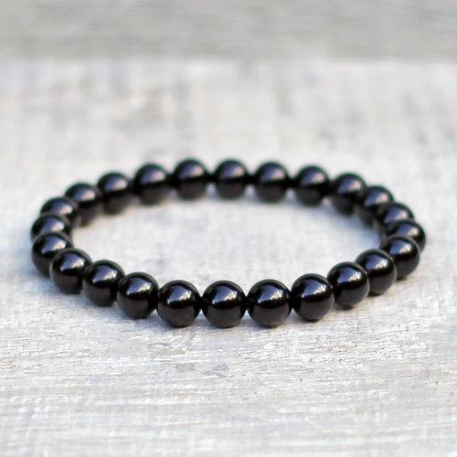 SpiritX Black Onyx Bracelet, 8mm Semi-Precious Gemstones, Unisex Stretch Fit Multiple Sizing, UK Made