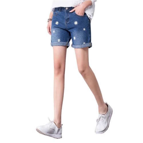 High-quality Jeans Shorts Exquisite Embroidery High Waist Shorts, E
