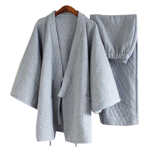 Cotton Pajamas Suit Tracksuit Bathrobe  Men's Kimono Pajamas,Light Grey