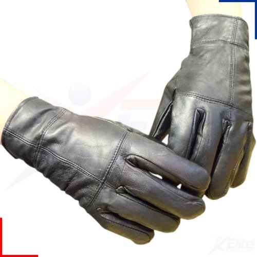Mens Black 100% Real Leather Winter Thinsulate Thermal Warm Driving Gloves