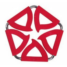 Pentagon Stainless Steel Silicon Potholders Pot Holder, Heat-proof Mat(Red)