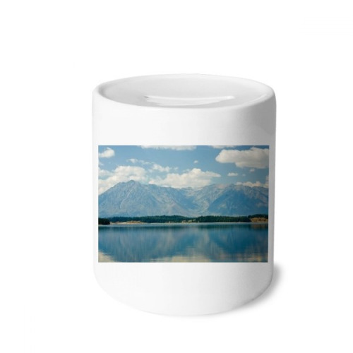 Mountain River Forest Reflection Sky Cloud Money Box Saving Banks Ceramic Coin Case Kids Adults