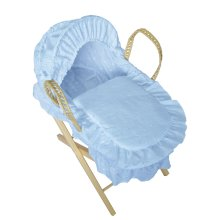Beautiful Dolls Moses Basket Broderie Anglaise Blue