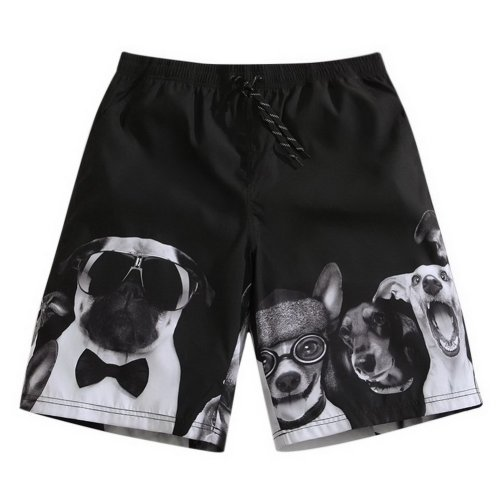 Men's Sports Casual Beach Loose Fashion Shorts, Black Cartoon Puppy