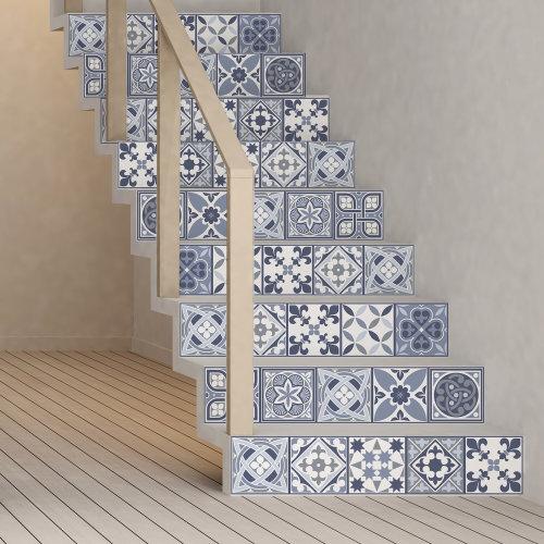 Walplus Tile Lisbon Blue Wall Sticker Decal (Size: 15m x 15cm @ 24pcs)