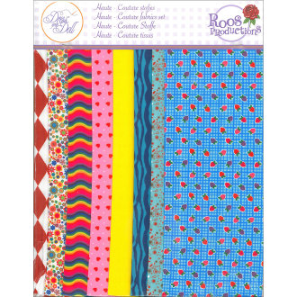 Dress Your Doll Making Couture Fabric Set 8Pc-Strawberry Blue