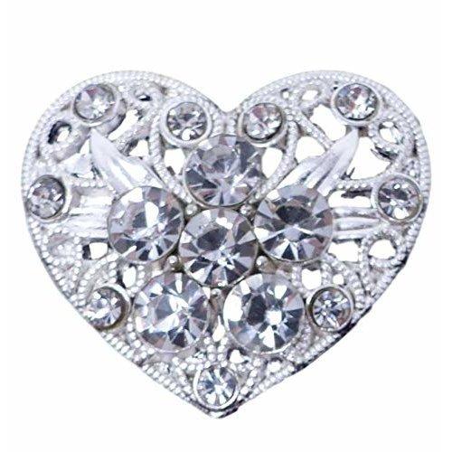 10 x Diamante Wedding Embellishment Filigree Heart With Grade A Sparkly Crystal Rhinestones