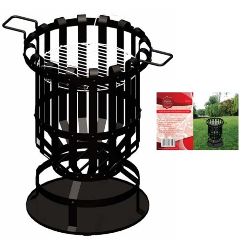 Patio Brazier With Bbq Grill -  brazier grill patio steel barbecue redwood bbch711