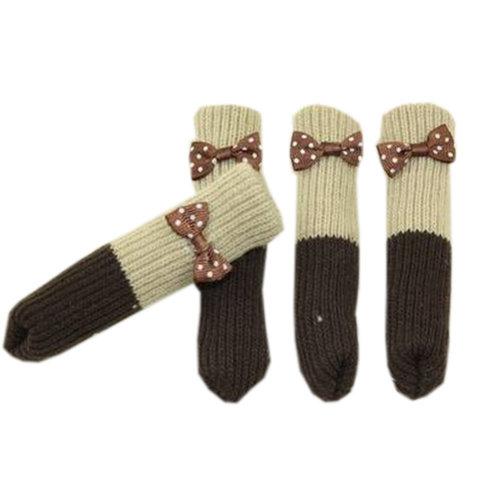 Chair/Table Leg Pad Furniture Knit Socks Floor Protector Set Of 24, Khaki