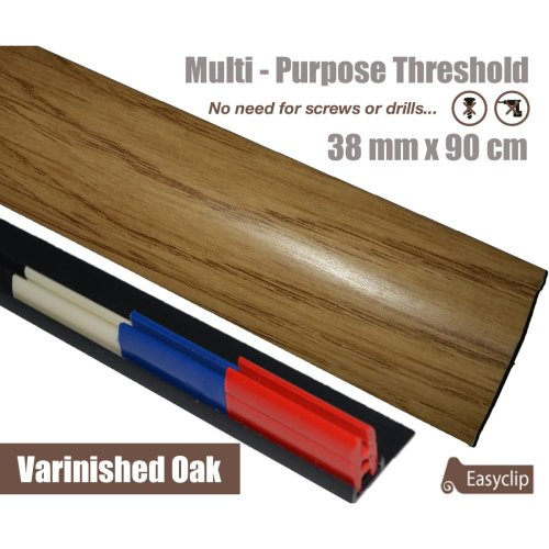 Varnished Oak  Multi Purpose Threshold Strip 90cm Adhesive Clip System