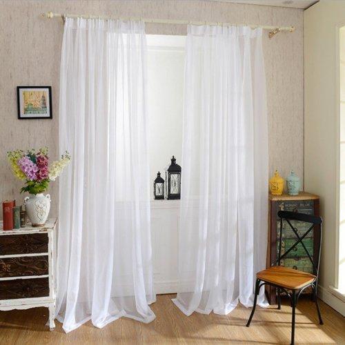 2pcs Curtains Gauze Finished Balcony Window Bedroom