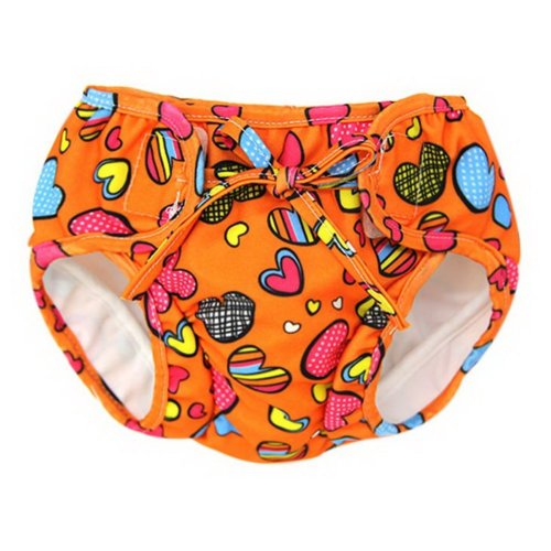Baby Swim Trunks 0-3 Infants Lovely Swimsuit Leakproof Swim Shorts, Orange Heart