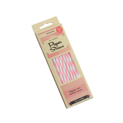 Eddingtons 30 Pack Paper Straws, Pink Stripe