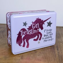 Girl Treasures Tin Unicorn Sparkly things, magic stuff and something pink and fluffy