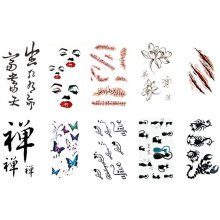 10 Sheets Fashion Body Art Stickers Removable Waterproof Temporary Tattoos ( O )