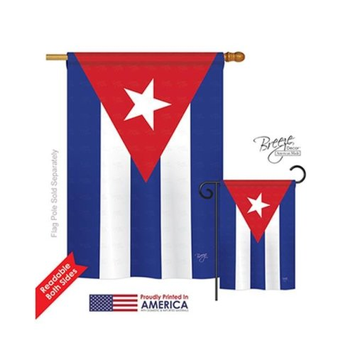 Breeze Decor 08223 Cuba 2-Sided Vertical Impression House Flag - 28 x 40 in.