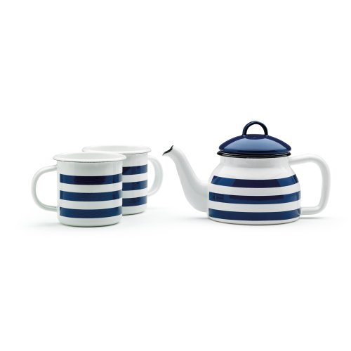Prestige Enamelware Teapot & 2 Mug Set, Blue Stripe